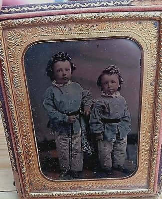 1860s YOUNG BOYS ETHNIC FASHION PORTRAIT QUARTER PLATE AMBROTYPE IN CASE-COLORED