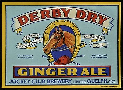 Vintage DERBY DRY GINGER ALE LABEL from JOCKEY CLUB BREWERY - Guelph, Ont. - NCC