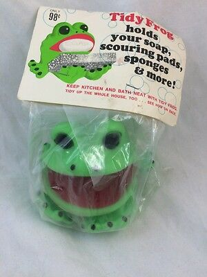 Vintage TIDY FROG Scouring Pad Soap Holder MIP Made In USA