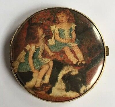 Vintage Double Mirror Compact Portrait Of Two Girls And Dog Western Germany