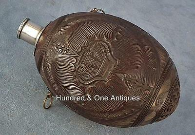 Antique Colonial 18th Century George III Bugbear Coconut Gun Powder Flask