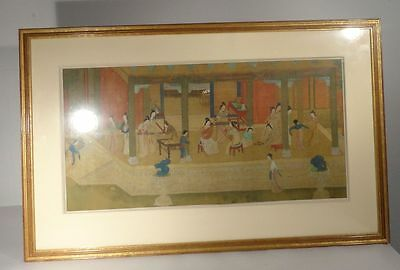 Antique Chinese Scroll Painting Silk  Ladies Palace Temple Ming Qing