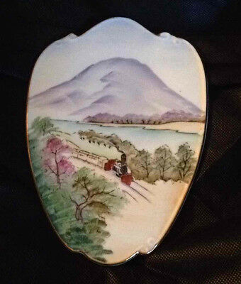 Lefton China Hand Painted Wall Plaque Vtg Porcelain Railroad Train Mountain 588