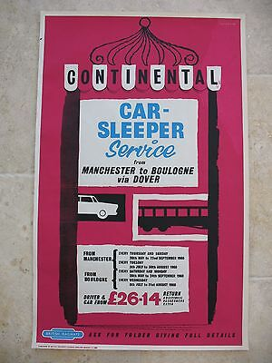 Original 1960 British Railway Poster Continental Car-Sleeper Manchester Boulogne
