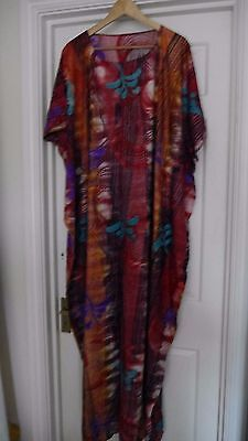 New Ladies African Traditional Multi Cotton Dress Matching Shawl Wrap Xl