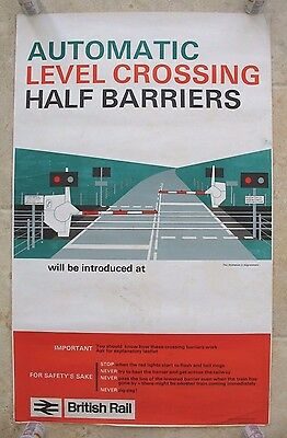 Original 1967 British Railway Poster Automatic Level Crossing Half Barriers