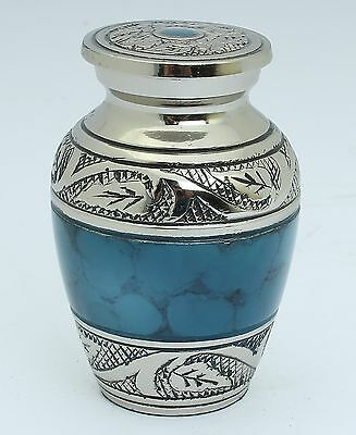 Mini Urn for ashes,Cremation Funeral Memorial Remembrance Small Keepsake, Blue