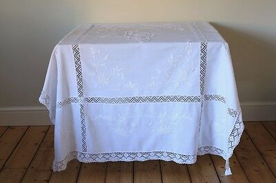 Vintage Large White Work Linen Tablecloth Hand Embroidered Floral Lace Panels
