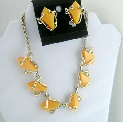 Vintage Lucite Orange Triangle Necklace and Earring Set