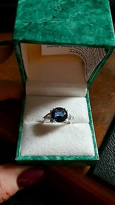 New Suzanne Somers Blue Sapphire Cubic Zirconia Ring Size 7