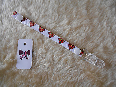 Reborn Baby Doll Dummy/Pacifier Clip made with Superman Superhero Ribbon..