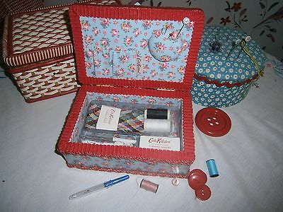 Lovely Cath Kidston Pale Blue Rose Red Mending Sewing Box & Contents Excellent