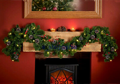 6FT pre lit Garland with pine cones & red berries  garland .