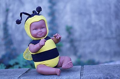 Cute Anne Geddes Black African American Bumble Bee Plush Baby Doll Smiling HTF