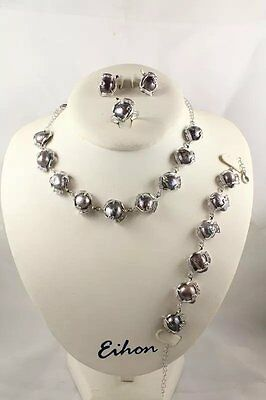 Women Charm Jewelry Silver Chain 11-13mm Mabe Pearl Pendant Necklace Set