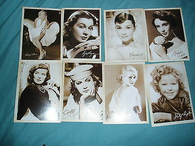 8 X Film Stars Signed Postcards Showing Movie Stars In  Theatres Of Ww2