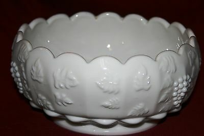 "Vintage Signed Westmoreland Milk Glass Paneled Grape 8"" Cupped Serving Bowl Wow!"