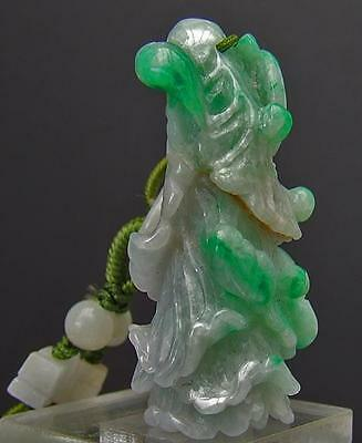 Chinese Jadeite Jade Pendant Bok Choy Cabbage with 2 bats Necklace & Wan Beads