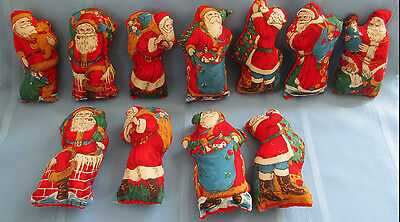 Vtg Stuffed Santa Old Fashioned Victorian Fabric Santa Figure Handmade Ornaments