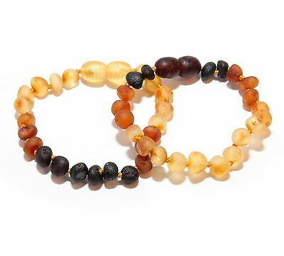 Genuine Raw Baltic Amber Baby Anklet Bracelet for Child Rainbow 5.1 - 5.5 in