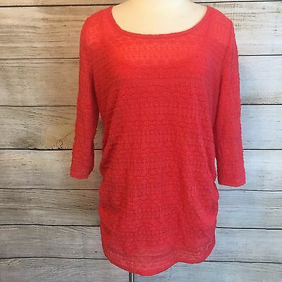 Jessica Simpson Maternity Top Size XL Coral Red Lace Cami Ruched Shirt