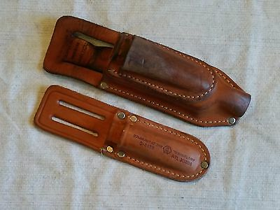 2 Multi-Pocket Leather Splicers Pouches, FVD Knife Snips USED, NOS