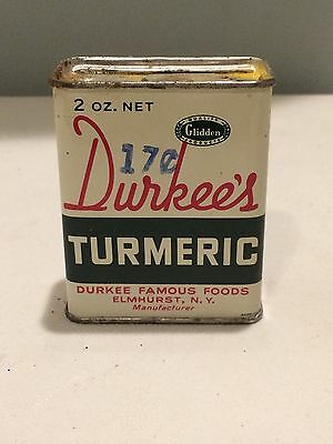 Full Durkee's Ground Turmeric Vintage Spice Tin with Metal Slide Top Glidden