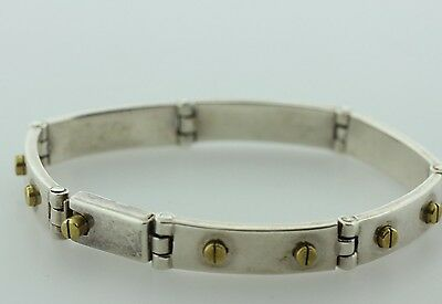 Vintage Mexico Sterling Silver 925 & Brass Hinged Panel Raised Screw Bracelet 8""