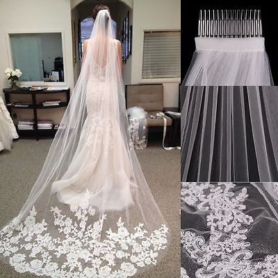 1 Layer 3M White Ivory Cathedral Length Lace Edge Bride Wedding Bridal Veil Comb