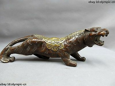 China bronze gild carved fine money lucky Feng Shui Tiger sculpture Statue