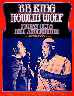 B.B. King & Howlin' Wolf POSTER 1971 King of Blues Rare