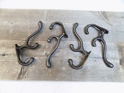 4 Coat Hooks Black Hook Hat Triple 3 Hook Vintage Antique Look Ornate Hat Tree