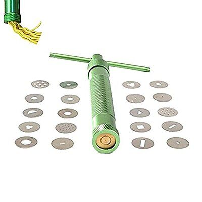 HOT Clay Extruder Polymer Clay Extruder Gun With 20 Discs Green