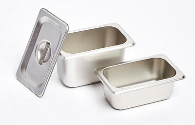 12 x 1/9 100mm Bain Marie Tray 18.10 Stainless Steel / Steam Pan/Gastronorm Pan,
