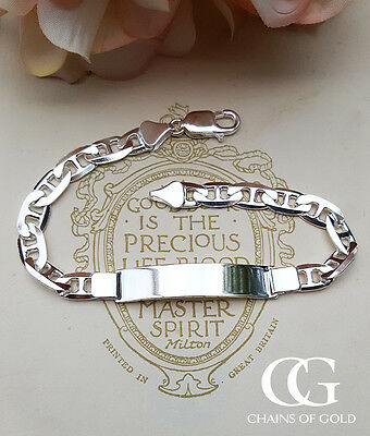 """Men's Sterling Silver Flat Anchor ID Bracelet 8"""" ENGRAVE PERSONALISE"""