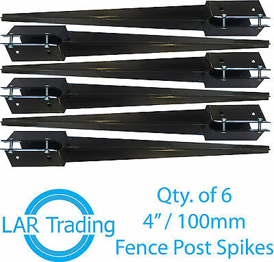 "Qty 6 of 4x4""/100x100mm Fence Post Holder Drive In Spike Bolt Grip Like Metpost"