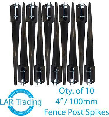"Qty 10 of 4x4""/100x100mm Fence Post Holder Drive In Spike Bolt Grip Like Metpost"