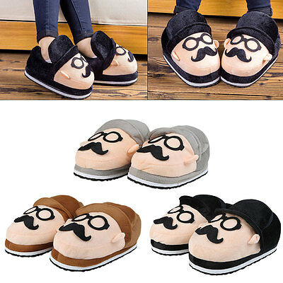 Mens Women Moustache Slippers Winter Warm Soft Indoor Home Cotton Slipper Shoes
