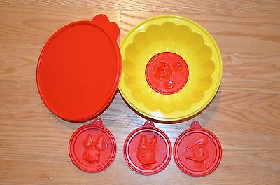 Tupperware Disney 6 Piece Jello Mold Red Yellow Lot