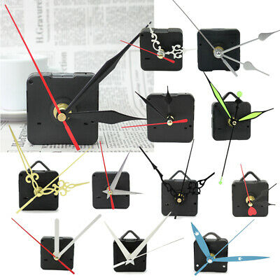 New Black Quartz Clock Movement Mechanism Repair DIY Tool Kit + Multicolor Hands