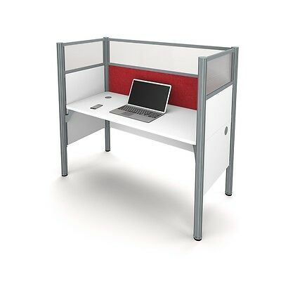Bestar Pro-Biz Simple workstation in White with Red Tack Board