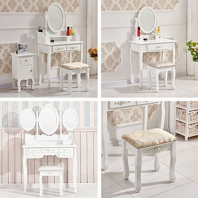 New White Dressing Table with Stool Makeup Desk with Drawers Oval Mirror Bedroom