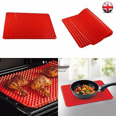1~2Pcs Pyramid Pan Fat Reducing Non Stick Silicone Cooking Mat Oven Baking Tray