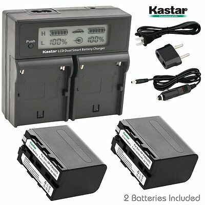 LCD Dual Fast Charger & 2 x Battery for Sony NP-F970 CCD DCR FDR GV HDR HVR NEX