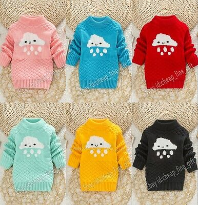 Child Boys Girls Clouds Rain Knitted Pullover Sweater Kids Winter Warm Jumpers