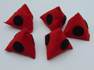 5 x Juggling Pyramid Bean Bags with Velcro Red