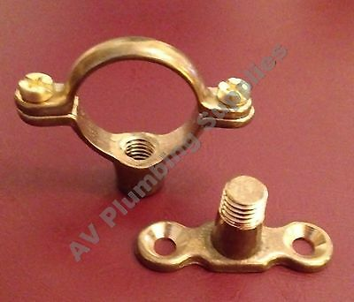 Qty 10 x 15mm Brass Single Munsen Ring & Backplate - Pipe Clips