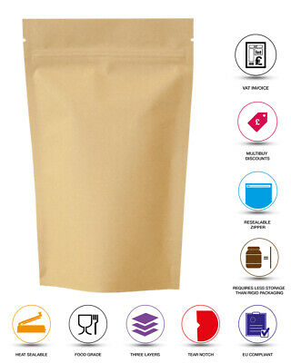 Kraft Paper Bag / Pouch Stand Up Sealable Coffee Seeds Nuts Grip Heat Seal Bag