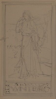 Arthur Heslop (1881-1955), Original Pencil Drawing, Winter, Study of a Painting