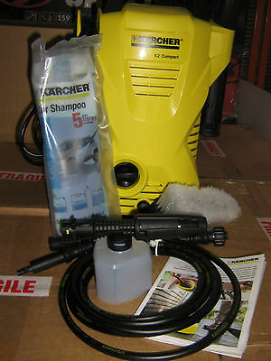 KARCHER K2 COMPACT Car 1400w PRESSURE WASHER Wash Brush,Foam Nozzle & Detergent